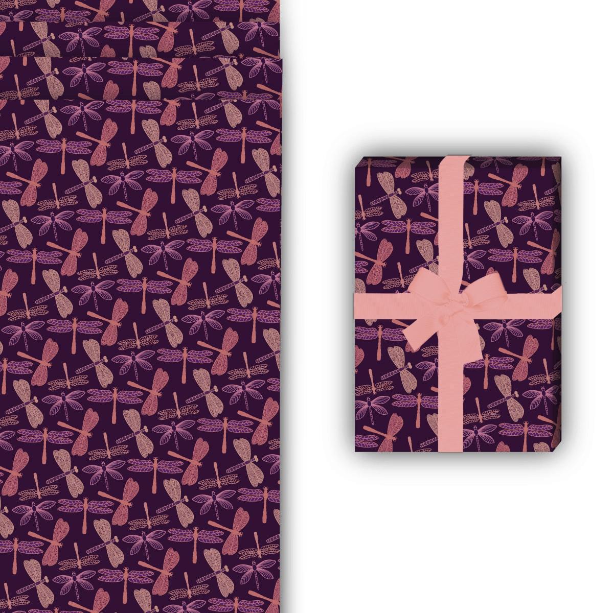 Schickes Sommer Geschenkpapier mit Libellen, lila, 32 x 48cm