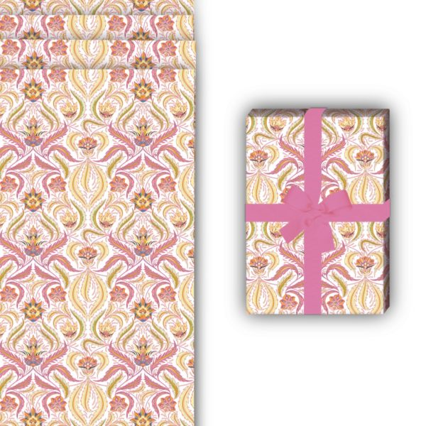 Vintage Geschenkpapier mit grafischem Retro  Blumenmuster, rosa, 32 x 48cm