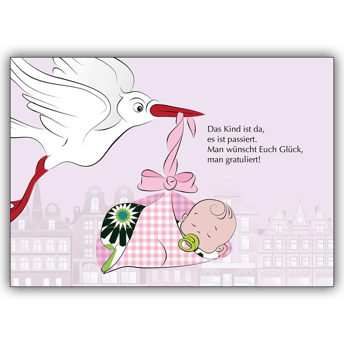 Susse Baby Madchen Gluckwunschkarte Zur Geburt In Rosa Mit Storch