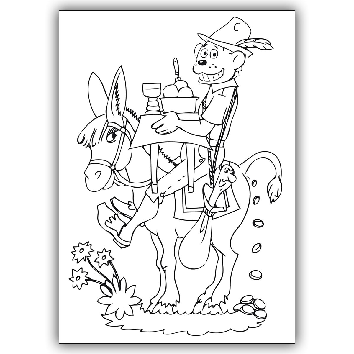 Zauberhafte Kinder Ausmal Bastel Karte mit Drachen Dinolino im Märchen  Tischlein Deck Dich