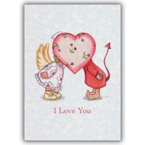 Romantische Valentinskarte mit Engelchen und Teufelchen hinter Herz: I love you