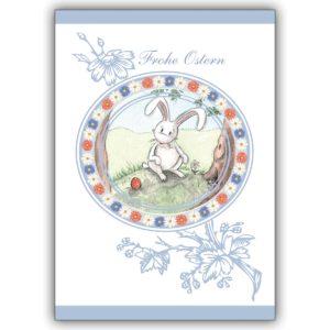 Zarte Osterkarte mit Hase im Blümchenkranz: Frohe Ostern
