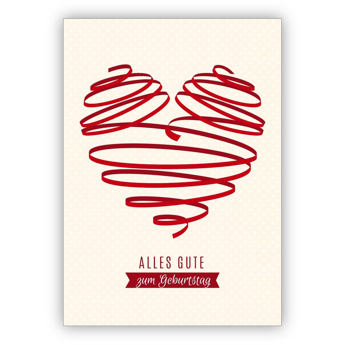 Tolle Geburtstagskarte mit großem rotem Herz: Alles Gute zum Geburtstag