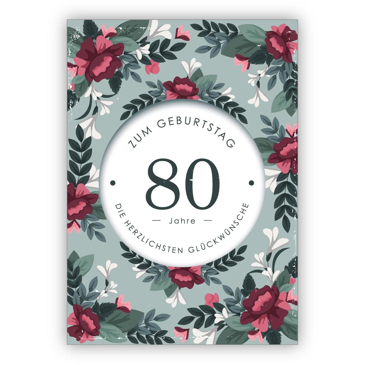 80 Geburtstag Karte Grusskarte Kalender Viel Text Foliendruck