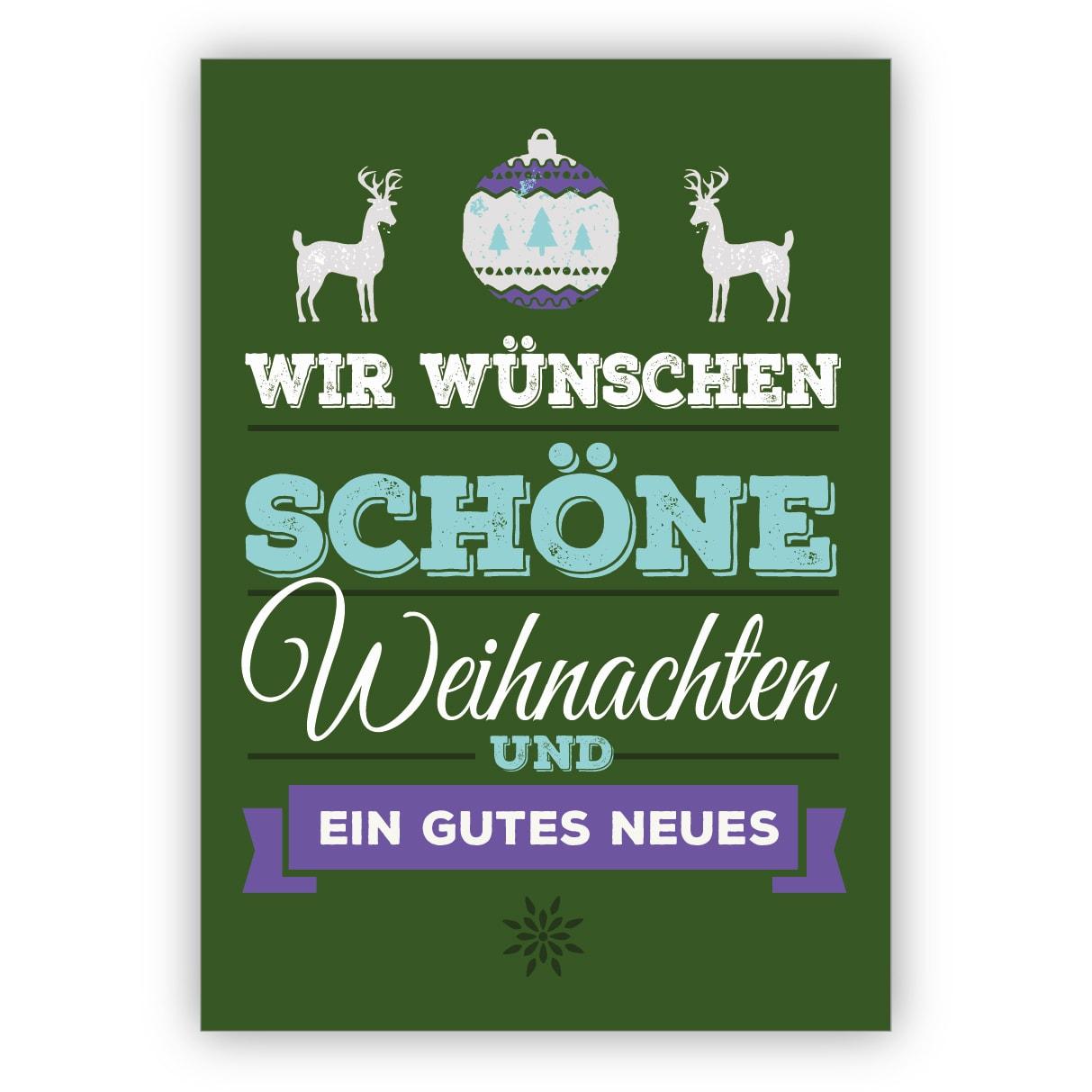 edle typografische weihnachtskarte mit hirschen auf gr n wir w nschen sch ne weihnachten und