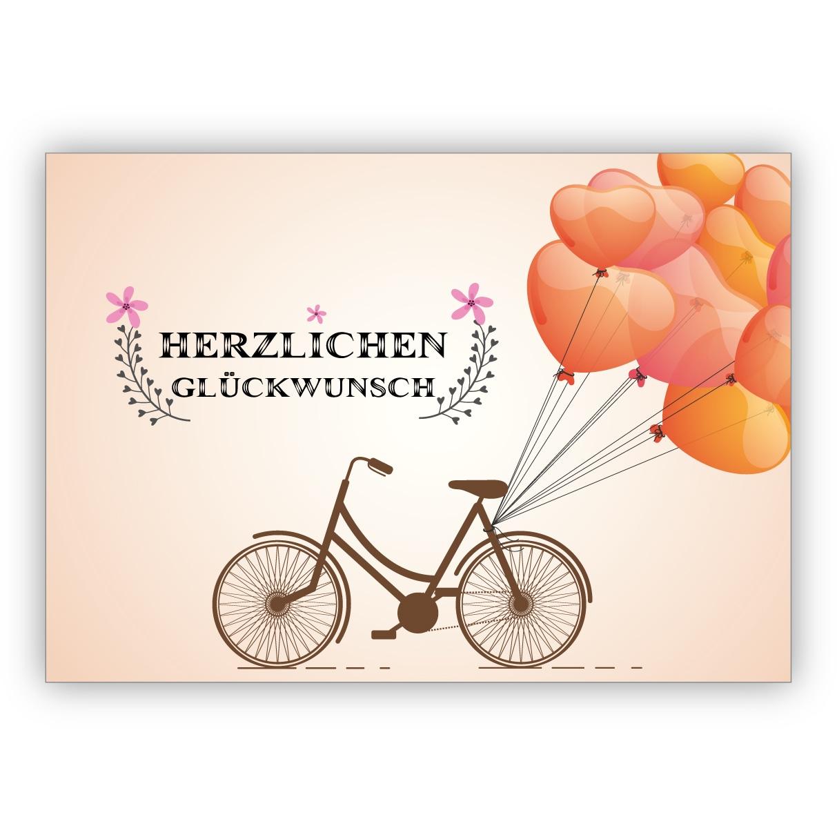 Postkarte Grusskarte Glueckwunsch Lastenfahrrad