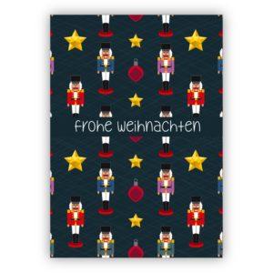 Ausgefallene Weihnachtskarte mit Nußknacker, Sternen und Weihnachtsschmuck: Frohe Weihnachten