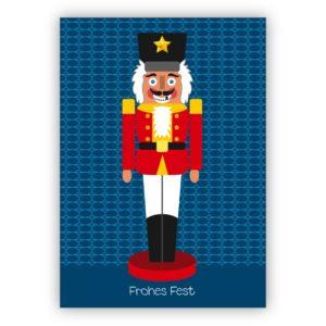 Lustige Weihnachtskarte mit grinsendem Nußknacker: Frohes Fest