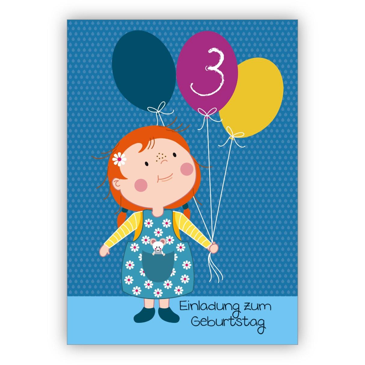 Nette Einladungskarte zum 3. Kindergeburtstag mit kleinem Mädchen und Ballons: Einladung zum Geburtstag