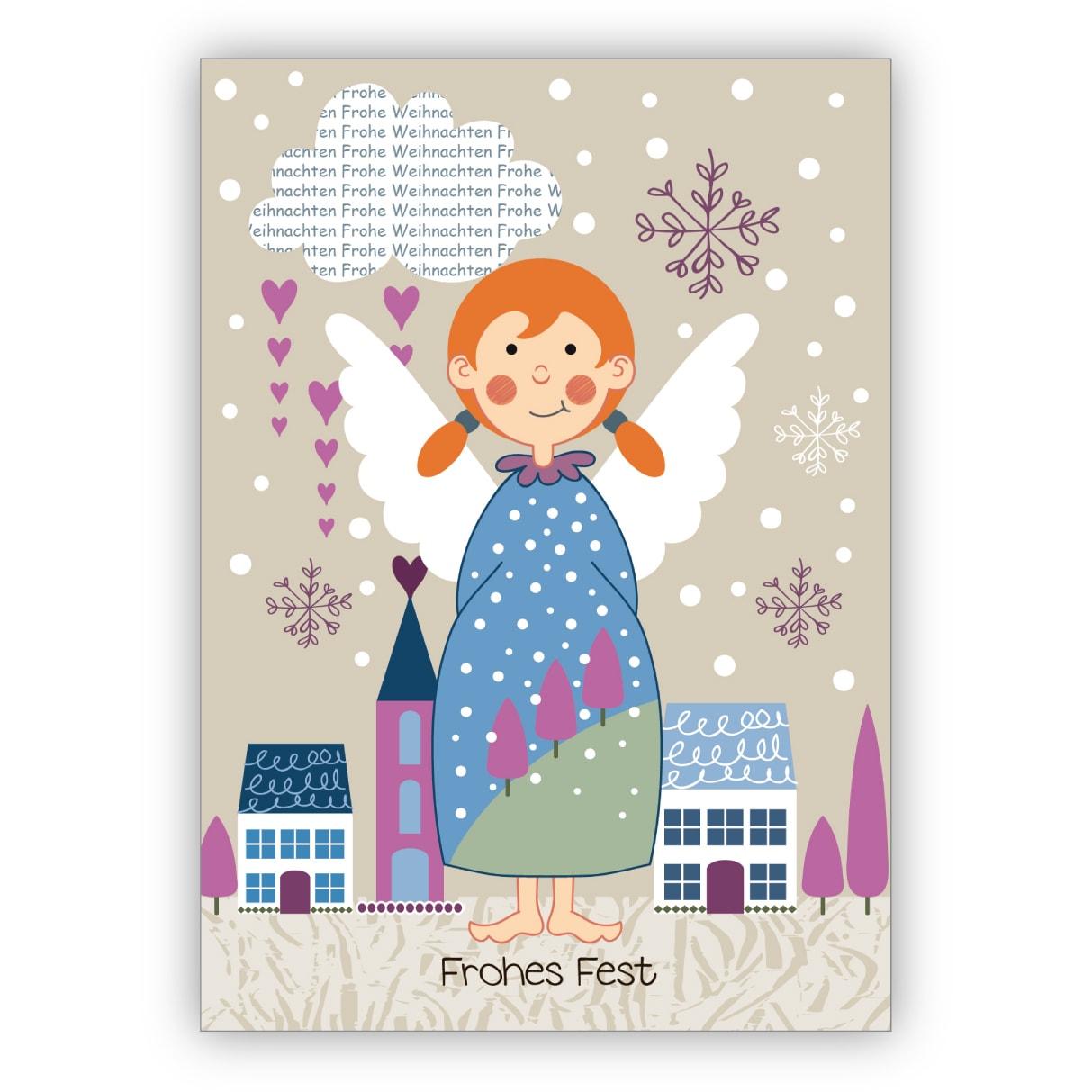 Wunderschöne Weihnachtskarte mit süßem Weihnachtsengel vor der Stadt.