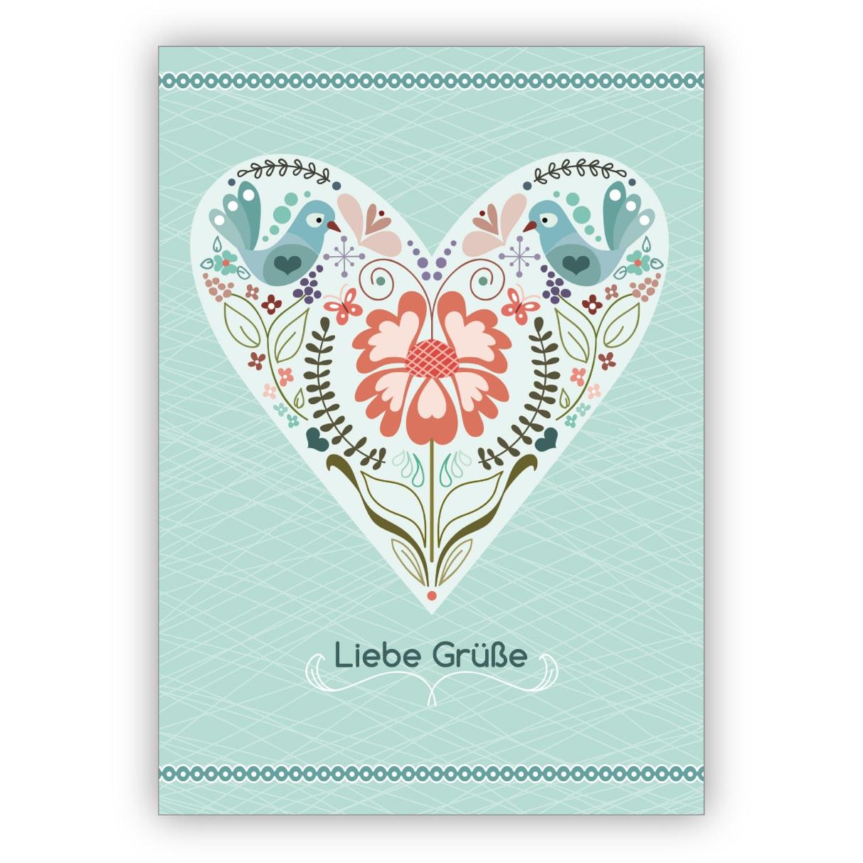 Schöne Grußkarte mit Herz im Folklore Stil: Liebe Grüße