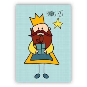 Lustige Weihnachtskarte mit kleinem König: Frohes Fest