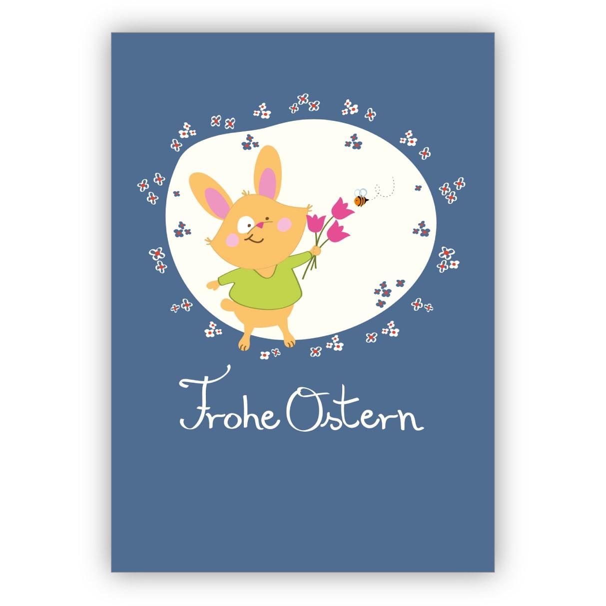 Nette Osterkarte mit kleinem Häschen und Tulpen: Frohe Ostern