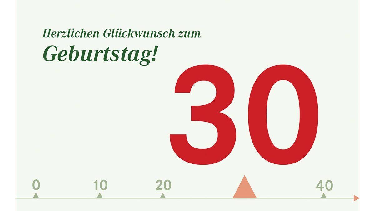 30 Geburtstagskarten Glück hochwertige Grußkarten farbige Hüllen 510-2345